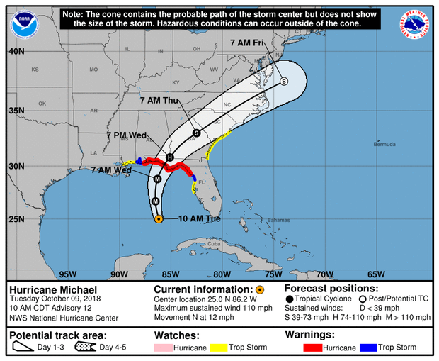A map made by the National Hurricane Center shows the projected path for Hurricane Michael as of 11 a.m. ET on Oct. 9, 2018.
