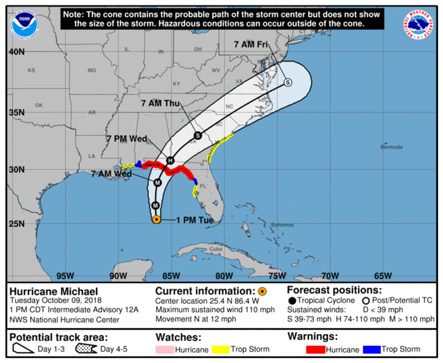 A map made by the National Hurricane Center shows the projected path of Hurricane Michael as of 2 p.m. ET on Oct. 9, 2018.