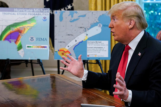 U.S. President Trump holds Oval Office meeting on Hurricane Michael  at the White House in Washington