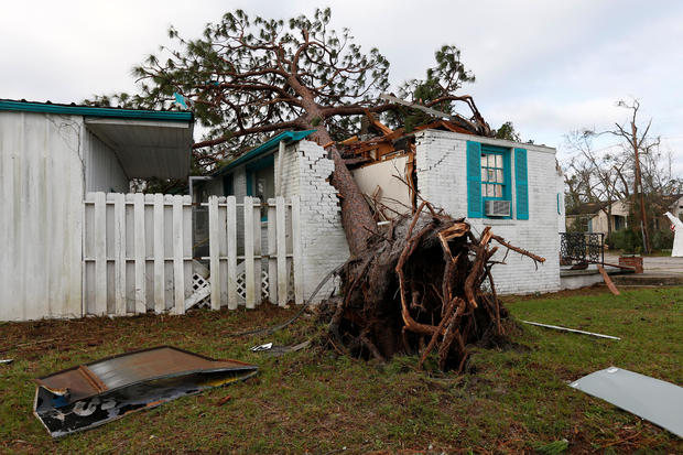 A house damaged by Hurricane Michae is seen in Panama City