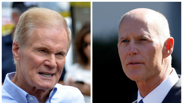 U.S. Sen. Bill Nelson, left, and Florida Gov. Rick Scott are seen in this combination photo.