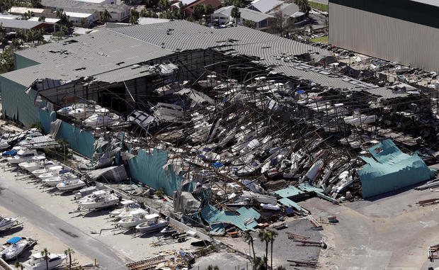 A roof over a boat storage building is collapsed after Hurricane Michael smashed into Florida's northwest coast in Panama City Beach