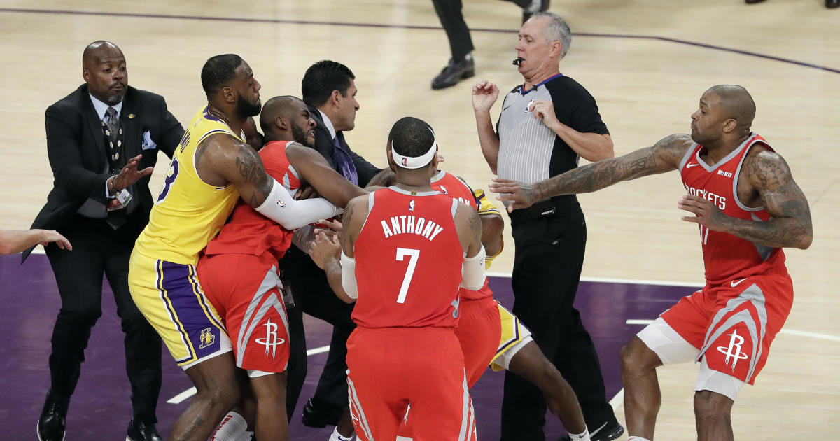 1cbc56fc2 Lakers, Rockets fight: Rajon Rondo, Chris Paul, Brandon Ingram throw  punches at LeBron James' Staples Center debut - CBS News