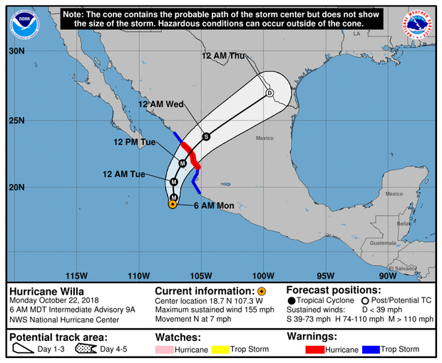A map made by the National Hurricane Center shows the projected path for Hurricane Willa as of 8 a.m. ET on Oct. 22, 2018.