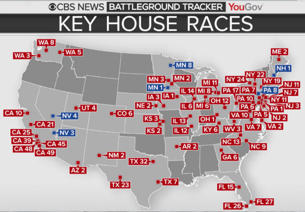 Key House Races in the 2018 midterms