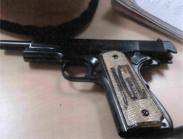 "A diamond-encrusted pistol that government witness Jesus Zambada said belonged to the accused Mexican drug lord Joaquin ""El Chapo"" Guzman"