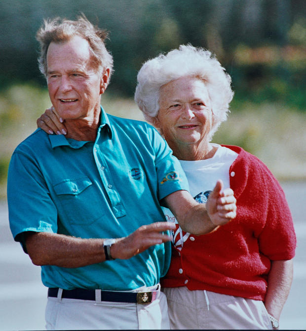 U.S. first lady Barbara Bush is pictured with President George H.W. Bush durina a presidential vacation in Kennebunkport