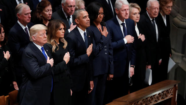 President Trump and three former presidents and first ladies stand together at state funeral for former U.S. President George H.W. Bush at Washington National Cathedral
