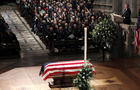 Former U.S. President George W. Bush delivers eulogy at state funeral for his father former U.S. President George H.W. Bush at Washington National Cathedral