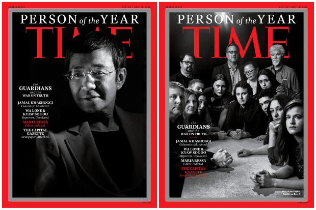 Maria Ressa, a Filipina journalist, and the staff of the Capital Gazette newspaper are seen in this combination image of the covers naming them among Time's Person of the Year Dec. 11, 2018.