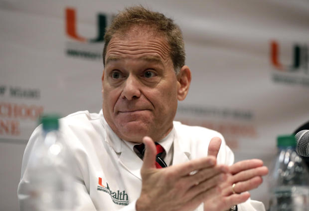 Dr. Michael Hoffer of the University of Miami Miller School of Medicine speaks during a news conference Dec. 12, 2018, in Miami.