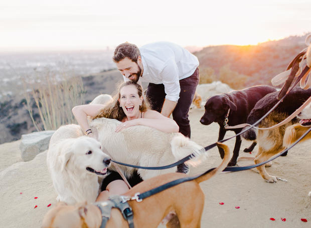 This man proposed to his girlfriend  with 16 dogs in tow