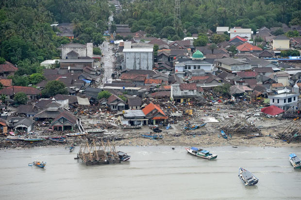 An aerial view of an affected area after a tsunami hit the coast of Pandeglang