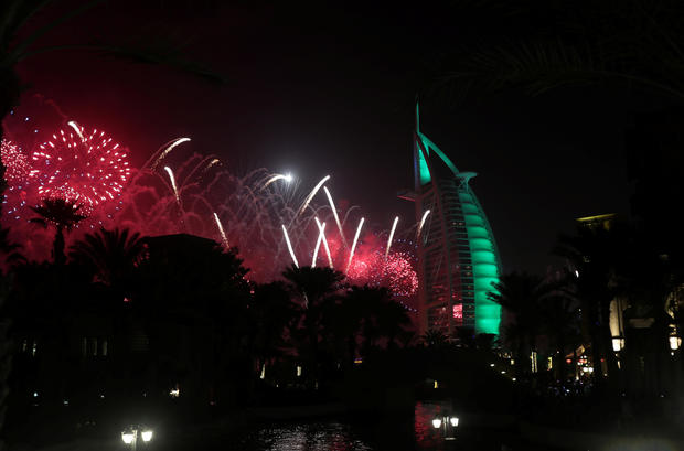 Fireworks  over the Burj Al Arab hotel during the New Year celebrations in Dubai