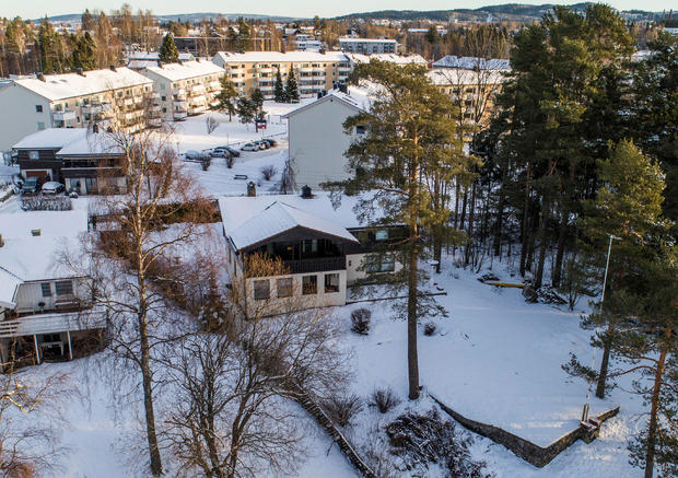 The house (C) of Norwegian real estate investor Tom Hagen and his wife Anne-Elisabeth Falkevik Hagen, who according to the authorities is suspected to have been kidnapped, in Fjellhamar