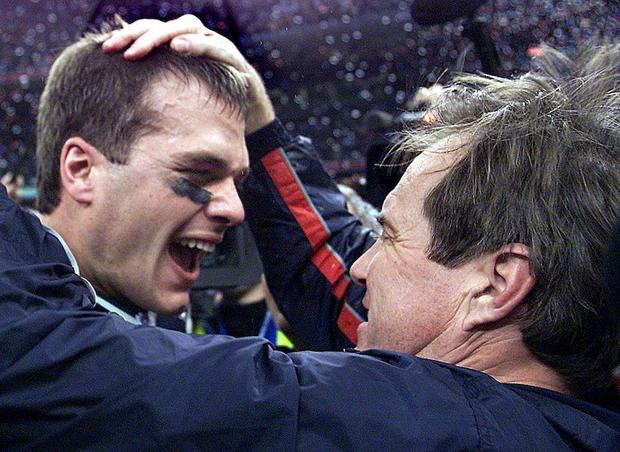 New England Patriots' quarterback Tom Brady celebr