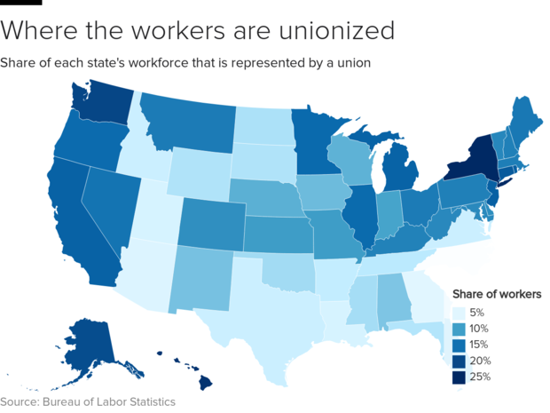 Labor Union States Map.Union Membership In The U S Hit Record Low In 2018 Cbs News