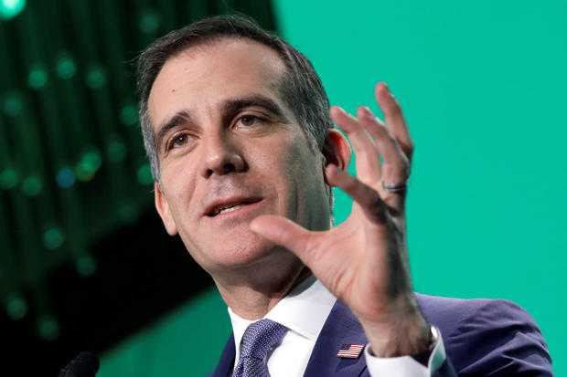 Los Angeles Mayor Eric Garcetti delivers remarks at The United States Conference of Mayors winter meeting in Washington