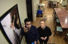 Arjun Sud and WBBM-TV's Dana Kozlov look up at Sud's Nest camera in his home in Lake Barrington, Illinois, in a story broadcast on Jan. 30, 2019.