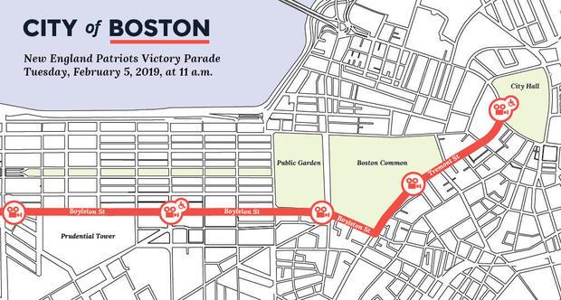 Patriots parade route through Boston 2019