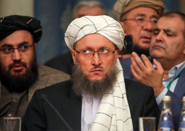 Deputy Head of Political Office of the Taliban Abdul Salam Hanafi attends a conference arranged by the Afghan diaspora in Moscow