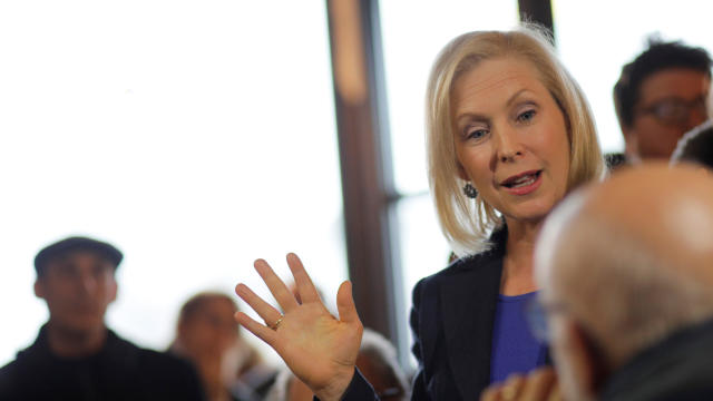 Democratic 2020 presidential candidate Gillibrand greets customers at Revelstoke Coffee in Concord