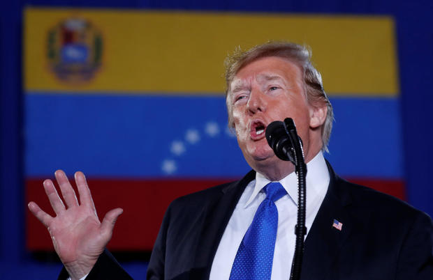 Trump speaks about the crisis in Venezuela during a visit to Miami