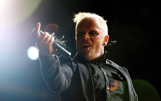 """FILE PHOTO: British singer Keith Flint of techno group """"The Prodigy"""" performs during the first day of the Isle of Wight Festival"""