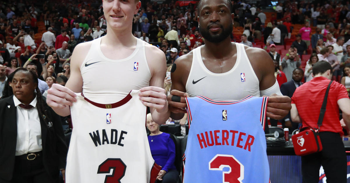 san francisco b654e cc475 Dwyane Wade swaps jerseys with Kevin Huerter: Miami Heat ...
