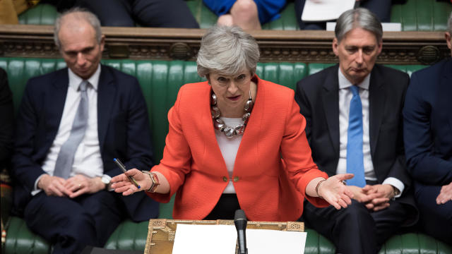 Britain's Prime Minister Theresa May speaks in Parliament in London