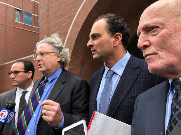David Sidoo -- along with attorneys Richard Schonfeld, David Chesnoff and Martin Weinber -- speaks outside Boston federal court after pleading not guilty to charges of participating in the largest college admissions fraud scheme in U.S. history in Boston