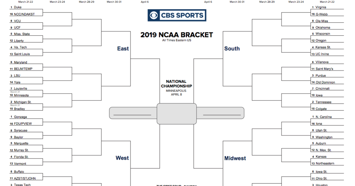 graphic relating to Printable Big Ten Tournament Bracket named NCAA bracket 2019: March Insanity is listed here - down load your