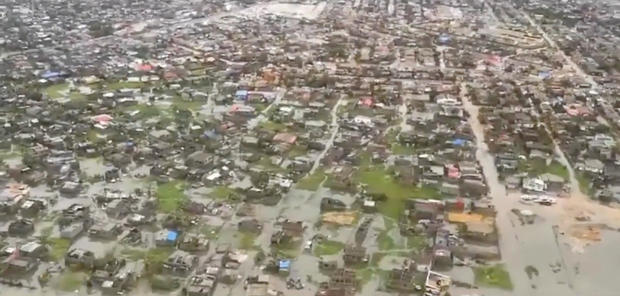 Helicopter footage shows flooding and damage after Cyclone Idai in Beira