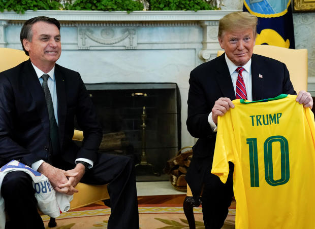 U.S. President Trump meets with Brazilian President Bolsonaro at the White House in Washington