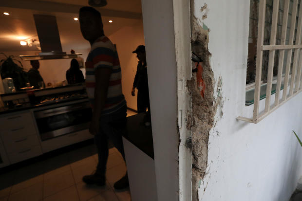 Damage is seen at the residence of Roberto Marrero, chief of staff to opposition leader Juan Guaido, after he was detained by Venezuelan intelligence agents, according to legislators, in Caracas, Venezuela, March 21, 2019.