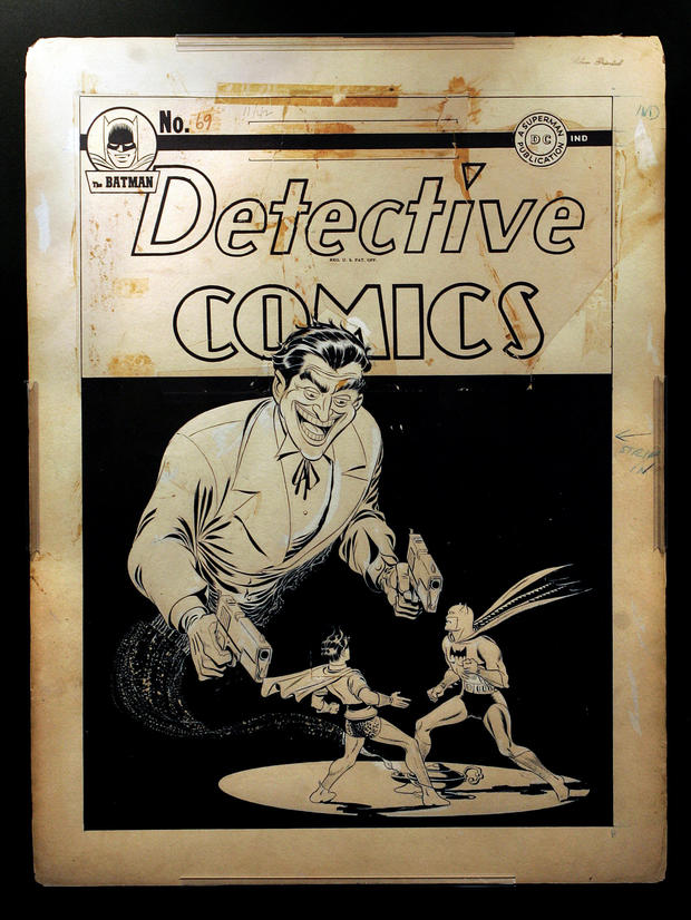 Copy photo of the cover of Detective Comics issue @@#69 by artist Jerry Robinson, depicting The Jok