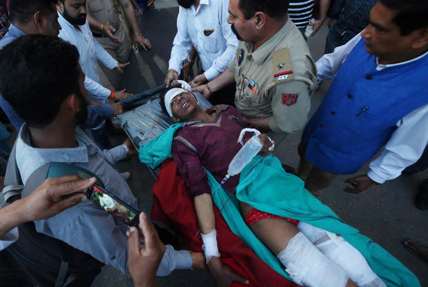 A civilian, who according to local media, was injured in a cross-border shelling near the Line of Control (LoC) with Pakistan in Poonch sector, is rushed to a hospital in Jammu