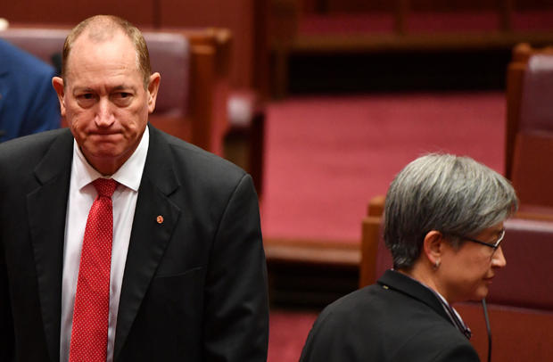 Shadow Minister for Foreign Affairs Penny Wong during a censure motion against Independent Senator Fraser Anning in the Senate chamber at Parliament House in Canberra
