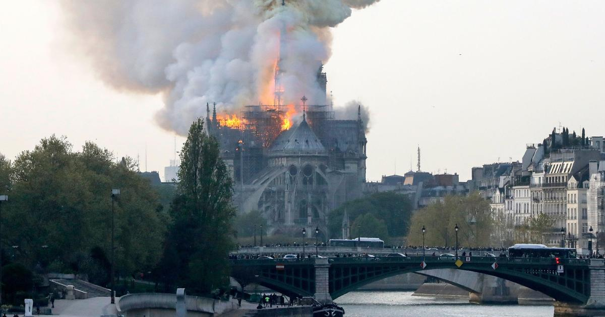 Notre Dame Cathedral Fire Spire And Roof Collapse As