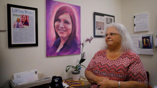 Susan Bro looks at mementos of her daughter Heather Heyer in Charlottesville