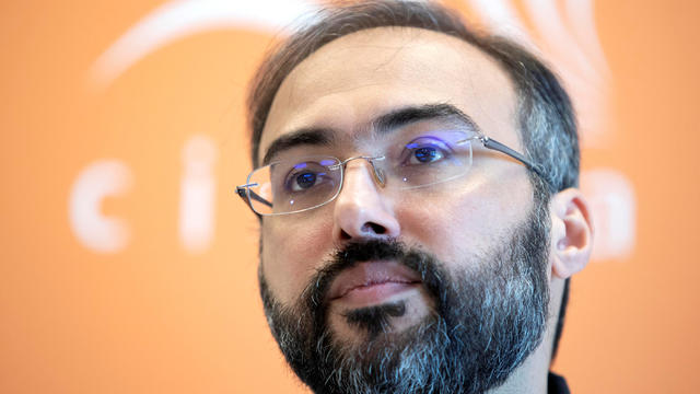 Arab pro-democracy campaigner Iyad el-Baghdadi attends news conference in Oslo
