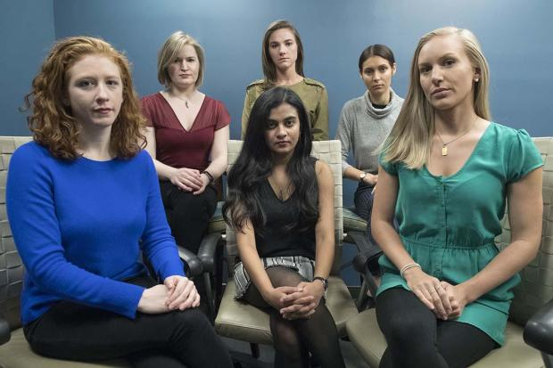 From left back row, Annemarie Brown, Andrea Courtney and Marissa Evans and, from left front row, Sasha Brietzke, Vassiki Chauhan and Kristina Rapuano pose in New York Nov. 14, 2018. The women filed a lawsuit against Dartmouth College for allegedly allowin
