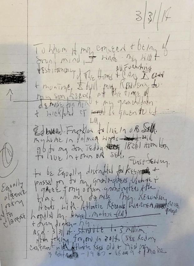 Aretha Franklin handwritten will