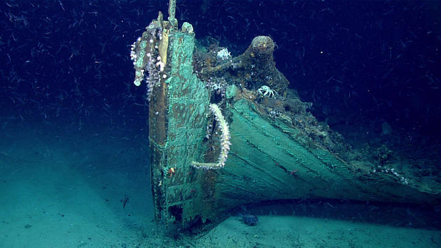 The bow of a shipwreck rests on the bottom of the Gulf of Mexico on May 16, 2019.