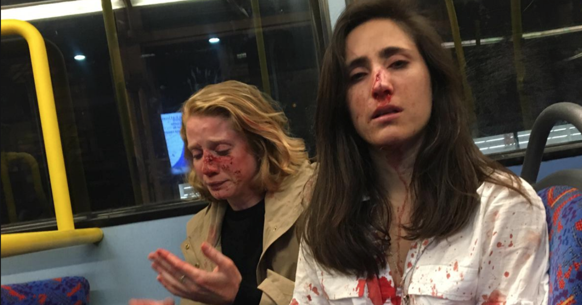 Image result for Lesbian couple attacked by men on bus in London