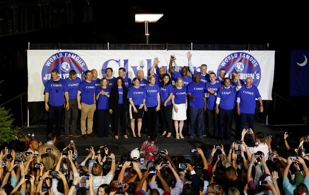 "The 21 Democratic presidential candidates along with SC Rep. Jim Clyburn take the stage during ""Jim Clyburn's World Famous Fish Fry"" in Columbia"