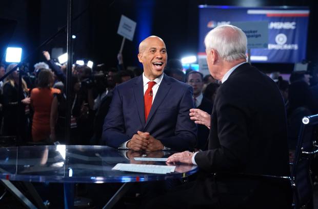 MSNBC anchor Matthews interviews Senator Booker after the first U.S. 2020 presidential election Democratic candidates debate in Miami, Florida, U.S.