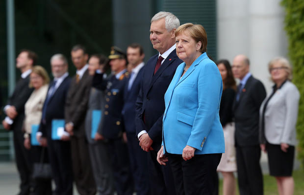 Angela Merkel, Chancellor of Germany seen shaking at public event today for 3rd time in less than a month