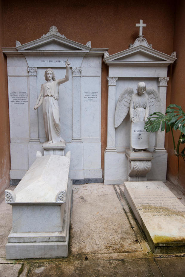 Tombs in a cemetery on the Vatican's grounds
