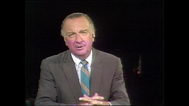 Walter Cronkite kicks off CBS News report on Apollo 11, the